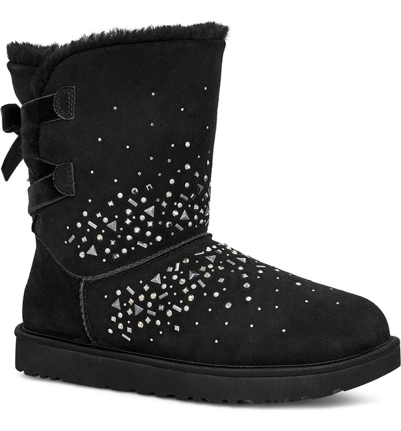 UGG<SUP>®</SUP> Classic Galaxy Bling Short Boot, Main, color, BLACK SUEDE