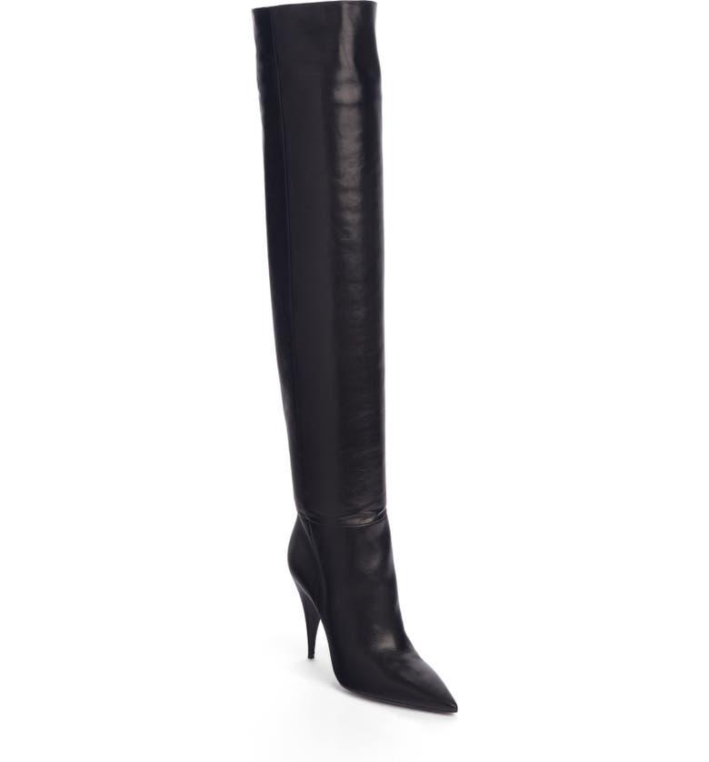 SAINT LAURENT Kiki Over the Knee Boot, Main, color, BLACK LEATHER
