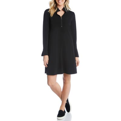 Karen Kane Quarter Zip A-Line Dress, Black