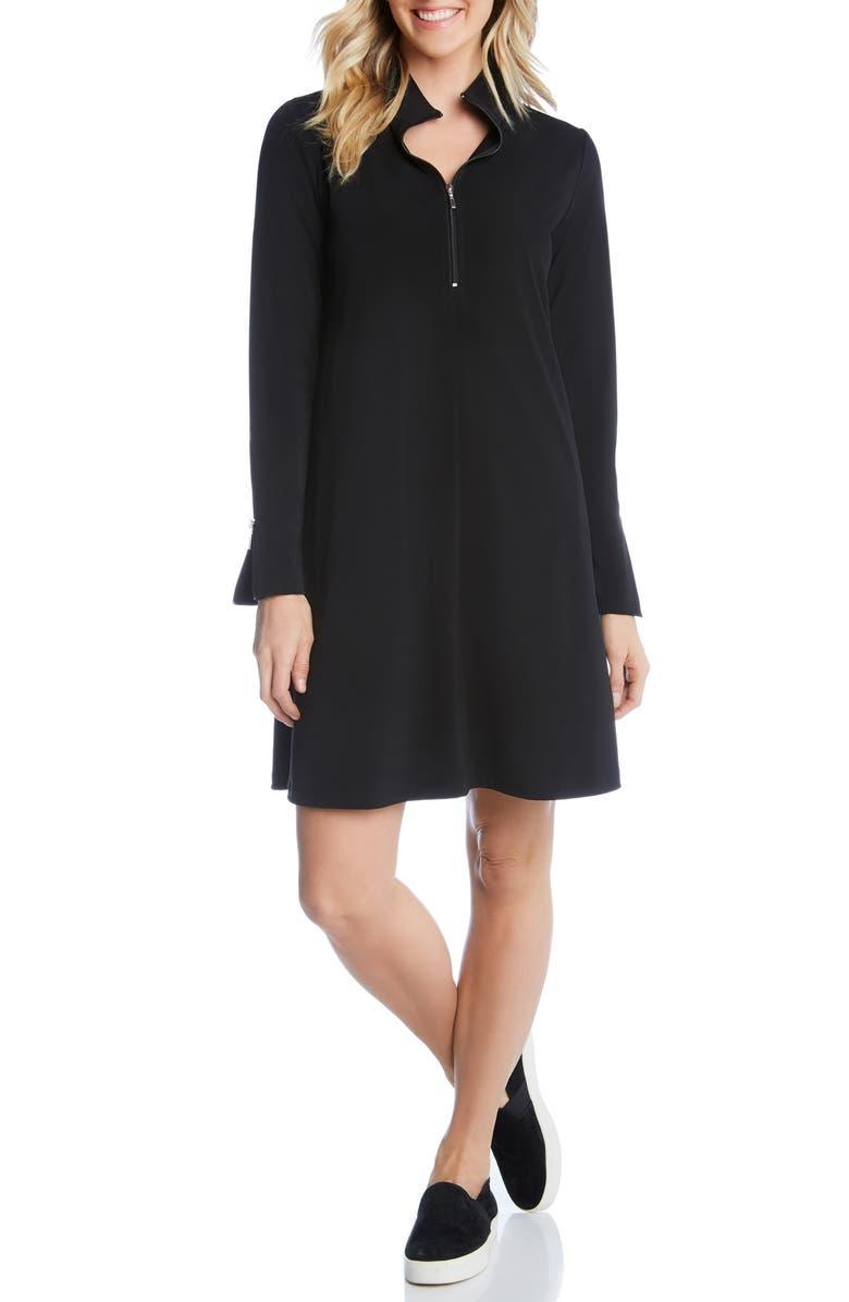 KAREN KANE Quarter Zip A-Line Dress, Main, color, BLACK