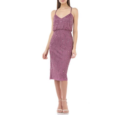 Js Collections Beaded Leaf Blouson Cocktail Dress, Pink