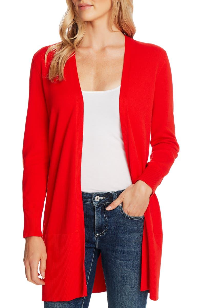 CECE Long Cardigan Sweater, Main, color, CANDY APPLE