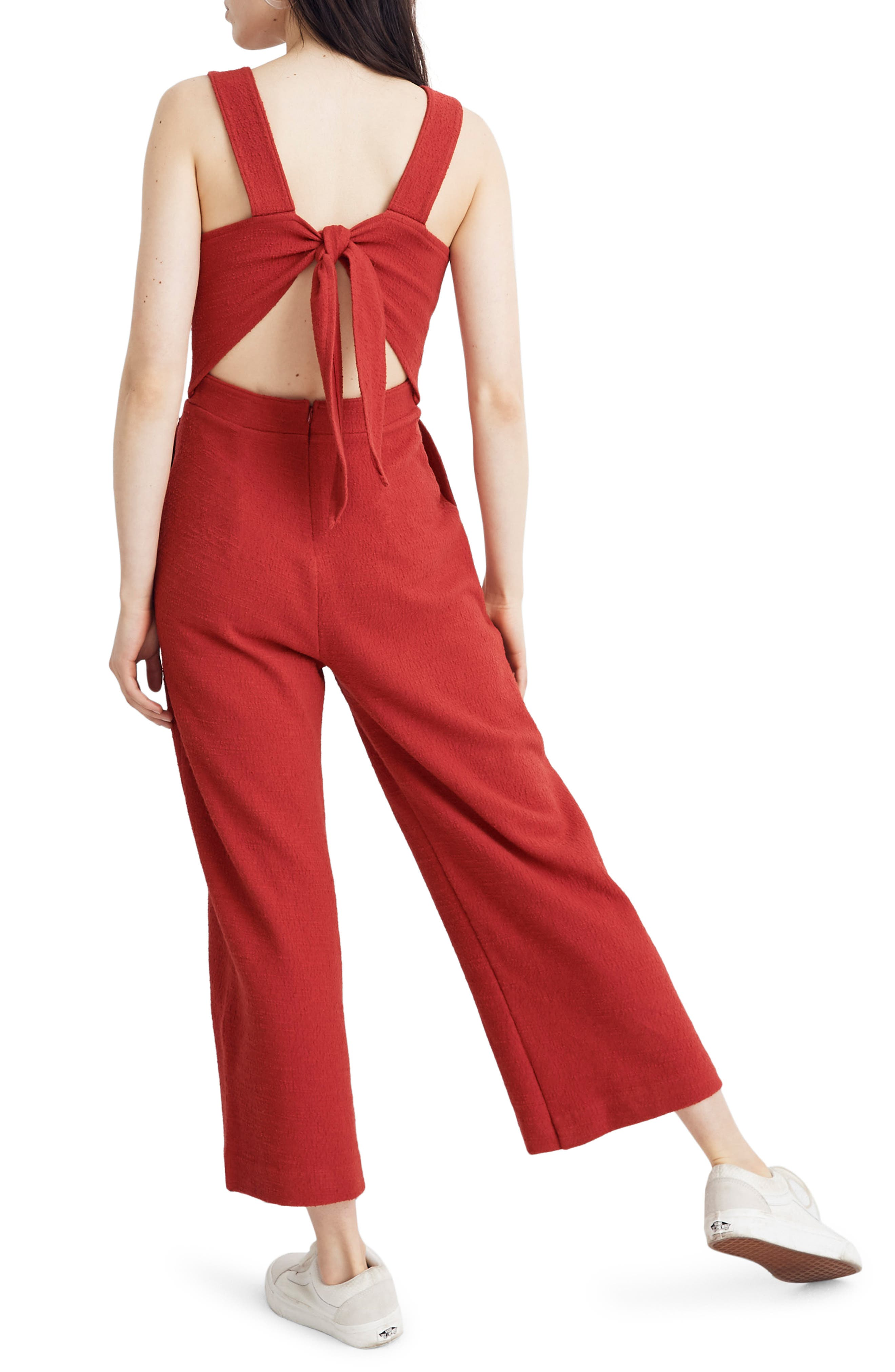 ,                             Texture & Thread Apron Bow Back Jumpsuit,                             Alternate thumbnail 2, color,                             BRIGHT EMBER
