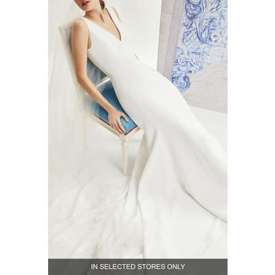 Carolina Herrera Ivy V-Neck Crepe Wedding Dress