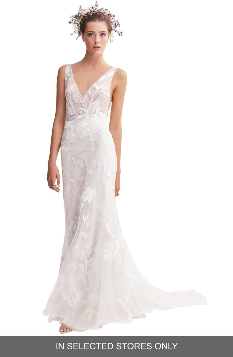 WILLOWBY Honor Lace & Tulle Trumpet Wedding Dress, Main, color, IVORY