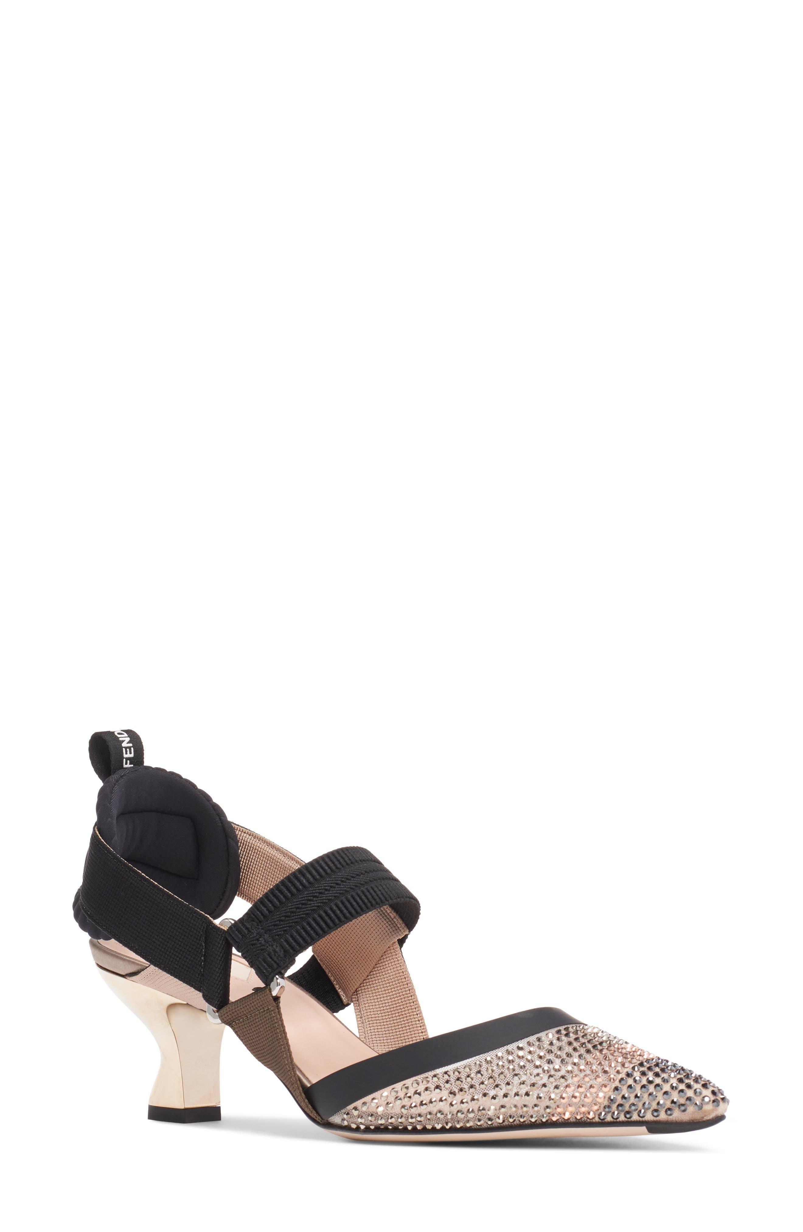 Fendi Colibri Strass Embellished Slingback Pump, Black