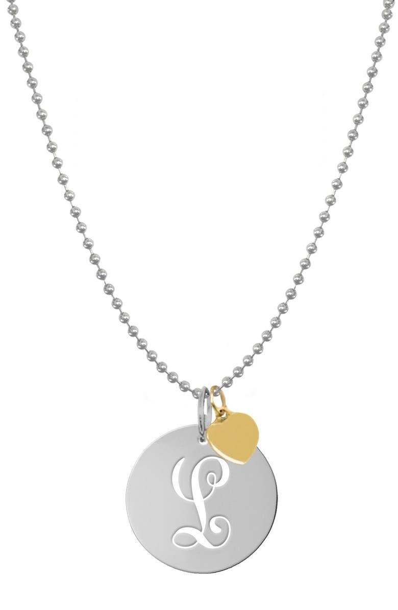 JANE BASCH DESIGNS Personalized Script Initial Disc Pendant Necklace, Main, color, SILVER - L