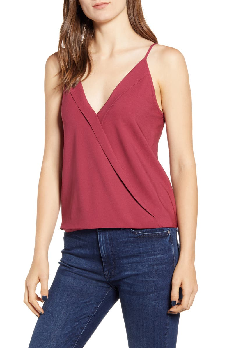 CHELSEA28 Cross Front Camisole Top, Main, color, RED PERSIA