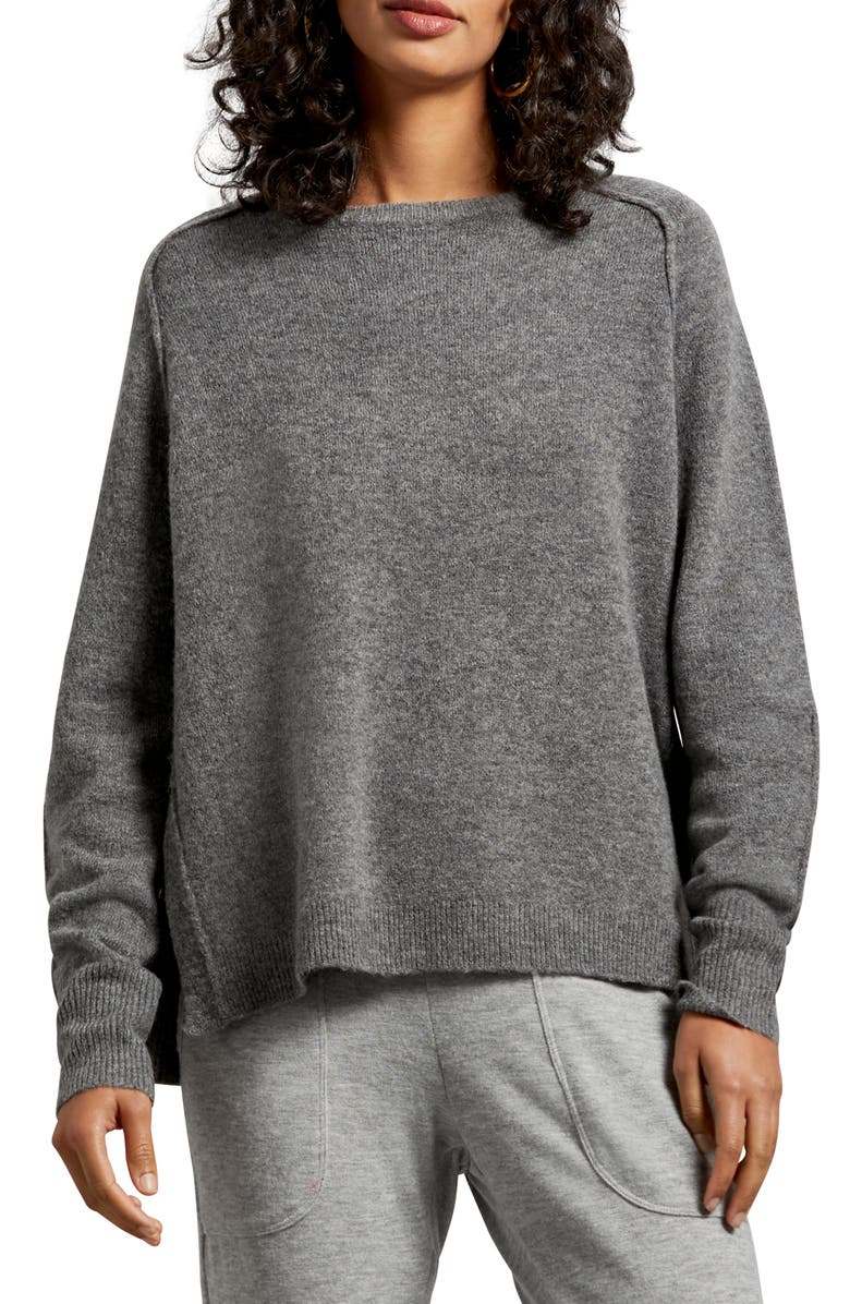 MICHAEL STARS Solana Exposed Seam Crewneck Sweater, Main, color, CHARCOAL