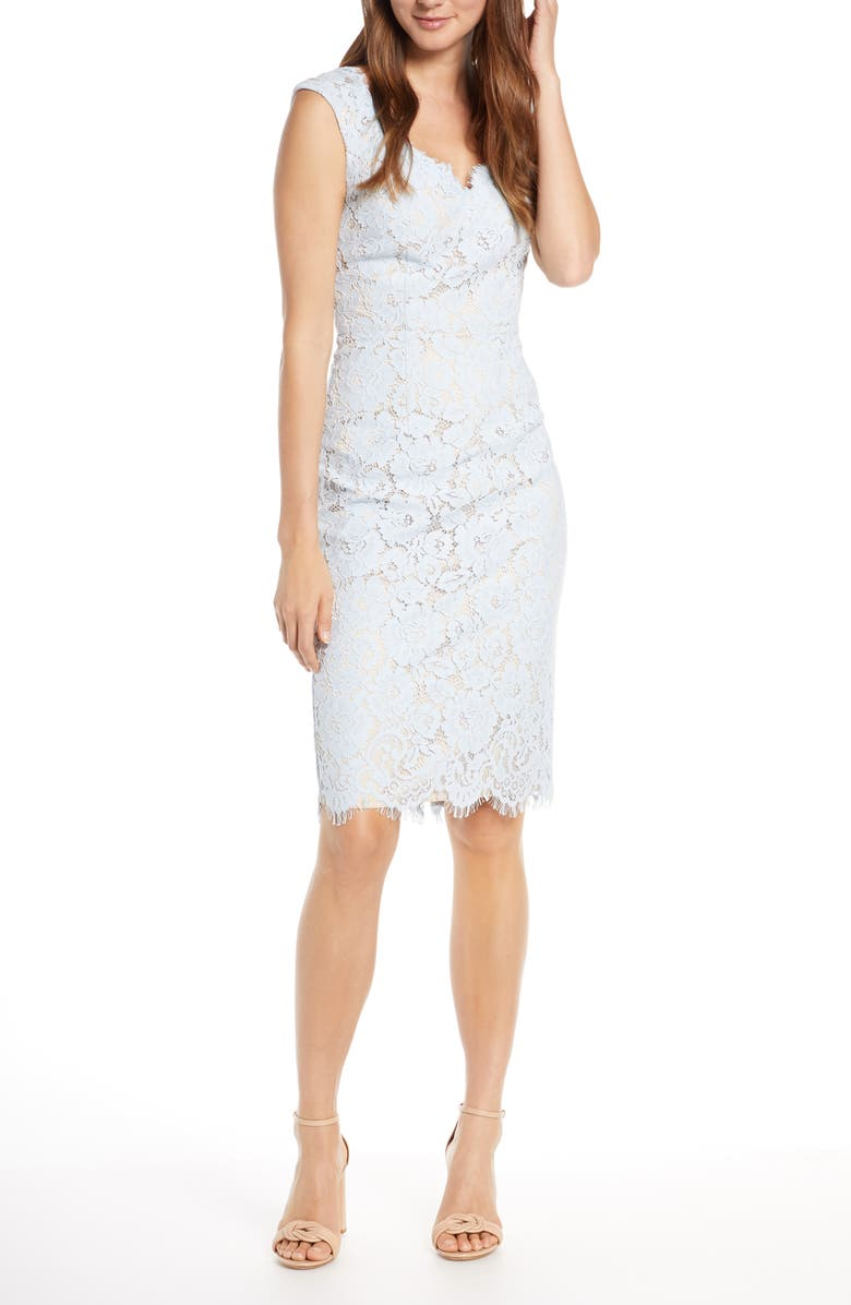 ELIZA J Lace Sheath Dress, Main, color, BLUE