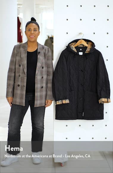 Roxwell Vintage Check Hood Thermoregulated Quilted Coat, sales video thumbnail