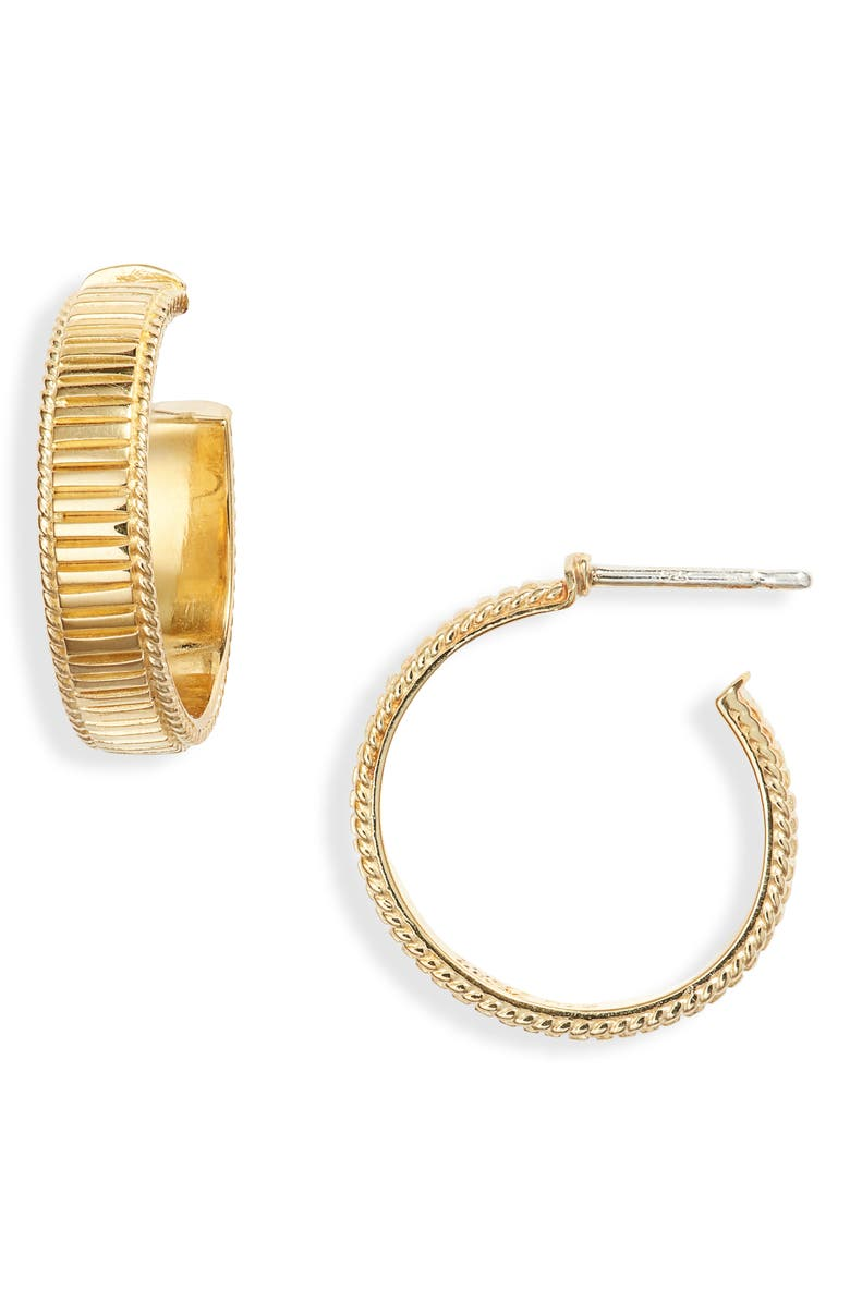 ANNA BECK Ribbed Small Hoop Earrings, Main, color, GOLD