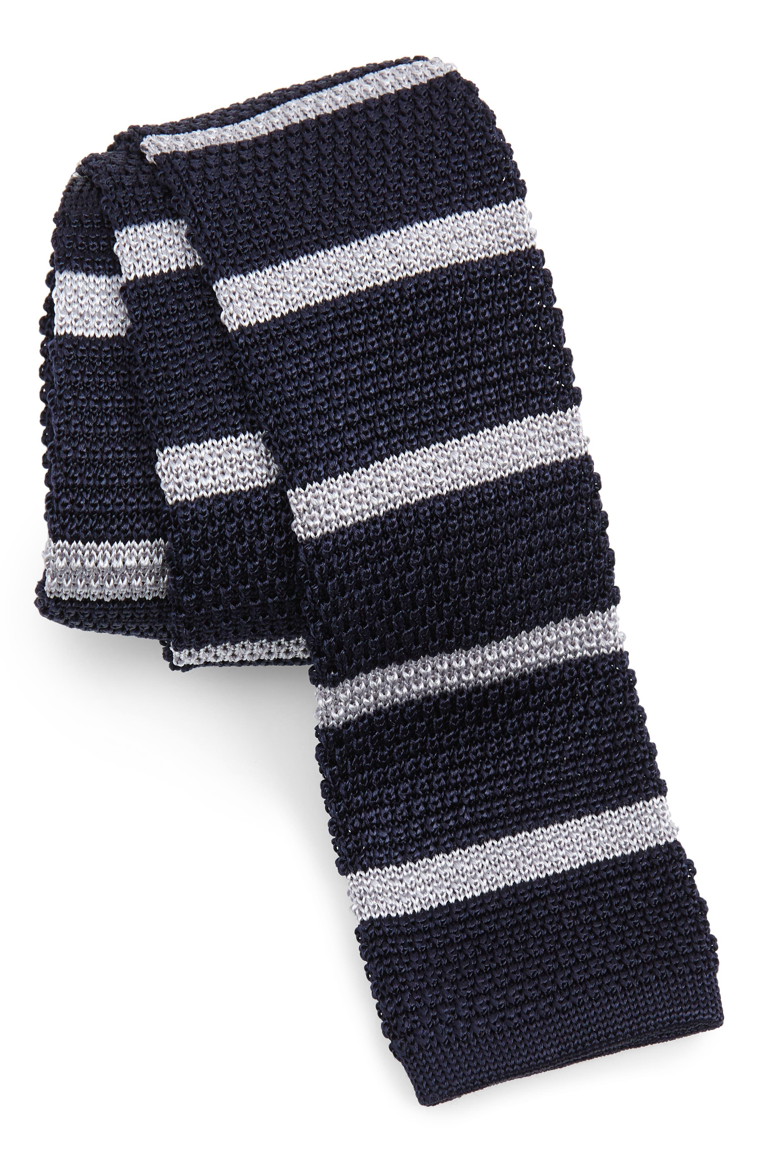 1920s Bow Ties | Gatsby Tie,  Art Deco Tie Mens Boss Stripe Knit Silk Tie $78.98 AT vintagedancer.com