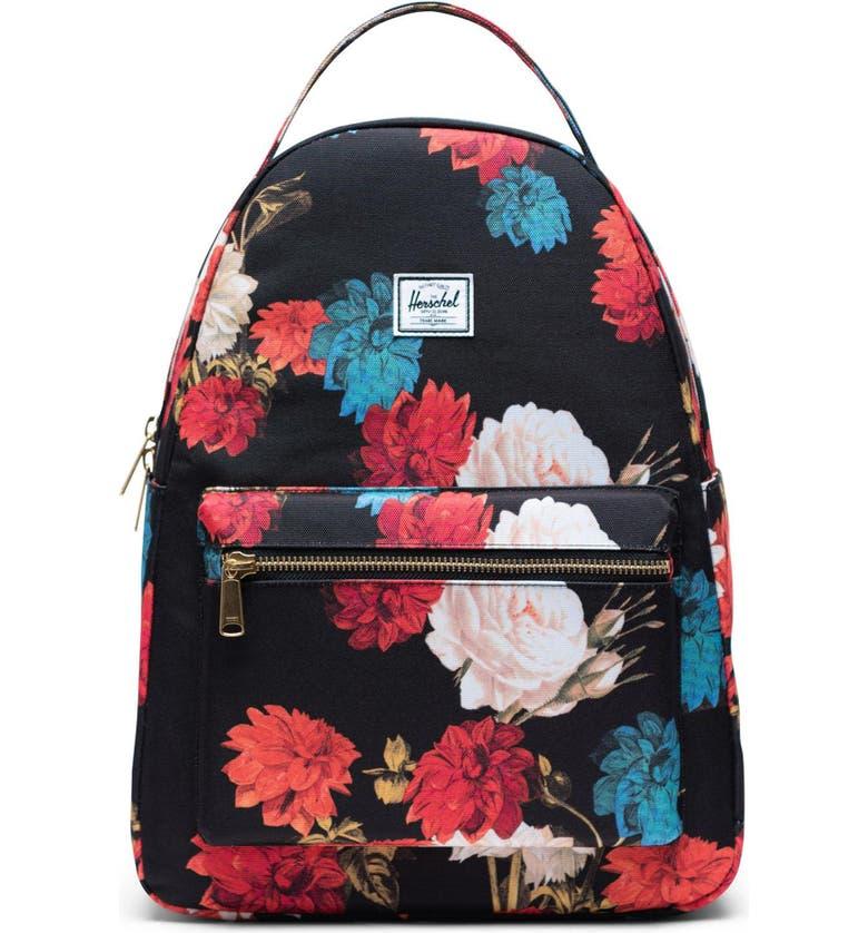 HERSCHEL SUPPLY CO. Nova Mid Volume Backpack, Main, color, VINTAGE FLORAL BLACK