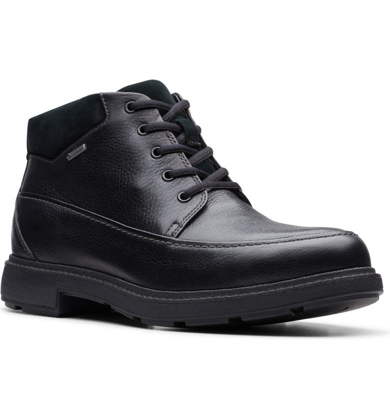 CLARKS<SUP>®</SUP> Un.Tread Waterproof Moc Toe Boot, Main, color, BLACK LEATHER