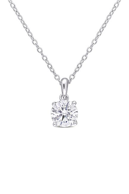 Image of Delmar Sterling Silver Created 1ctw Moissanite Solitaire Pendant