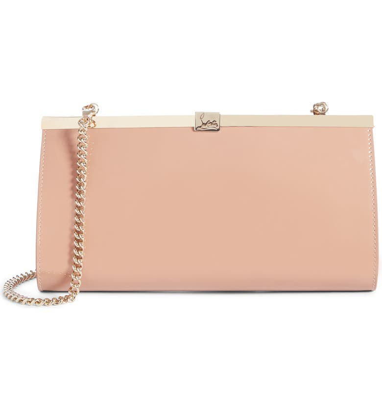 CHRISTIAN LOUBOUTIN Palmette Patent Leather Frame Clutch, Main, color, NUDE