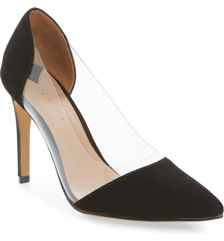 LEITH Penny Clear Pointy Toe Pump, Main, color, 001