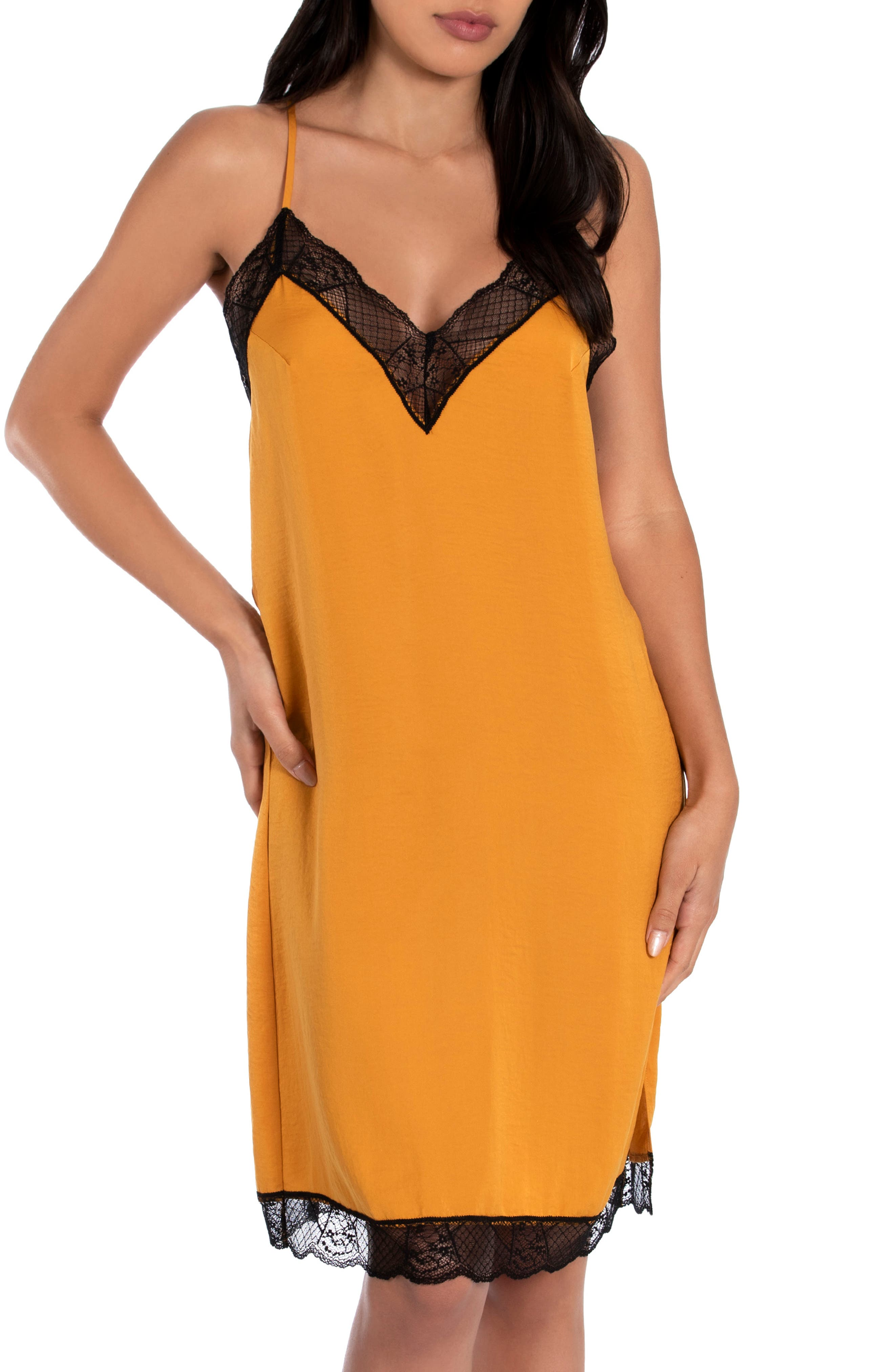 Midnight Bakery June Lace Trim Hammered Satin Chemise | Nordstrom
