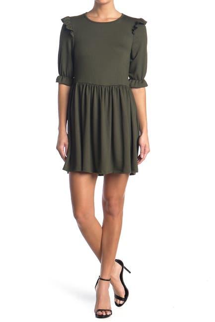 Image of Velvet Torch Ribbed Ruffle Trim Mini Dress