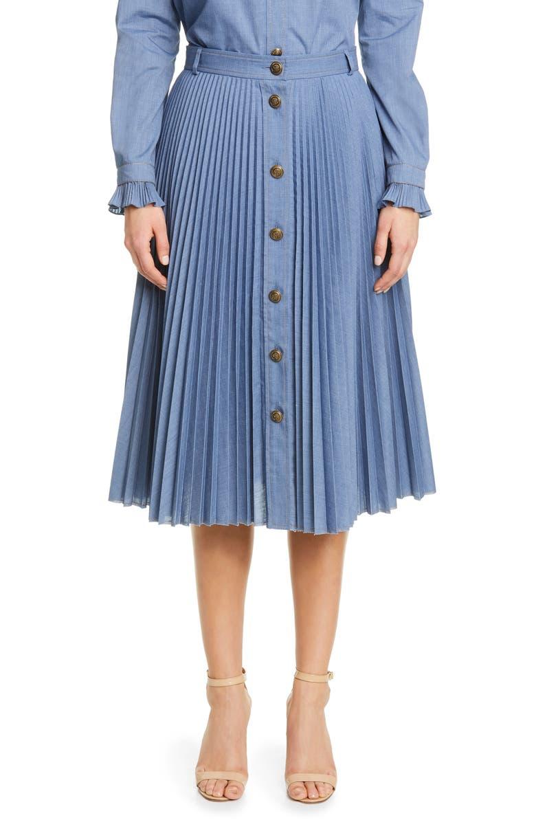 PHILOSOPHY DI LORENZO SERAFINI Pleated Skirt, Main, color, BLUE