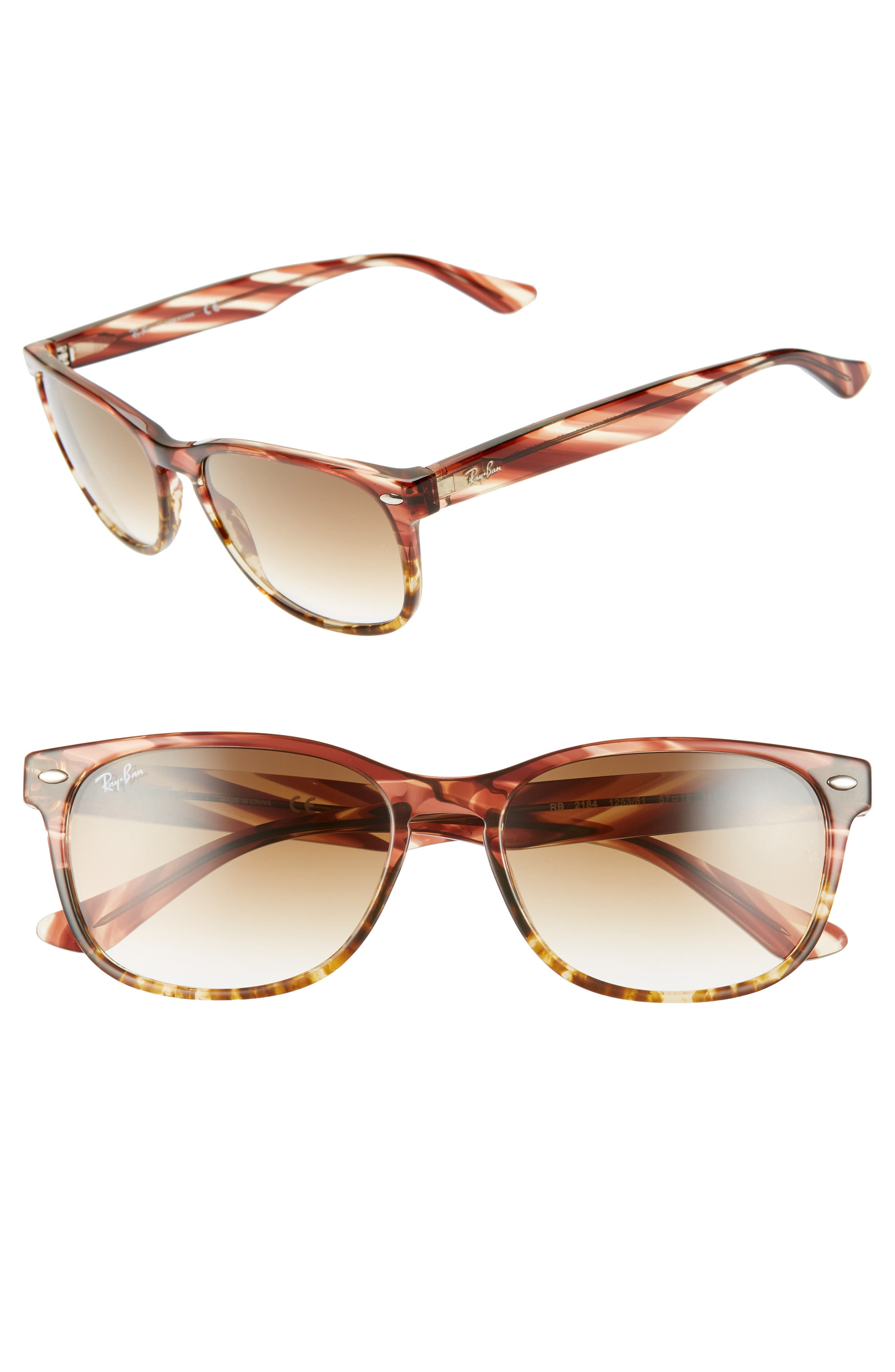 Ray-Ban Highstreet 57Mm Square Sunglasses - Pink/ Brown Gradient