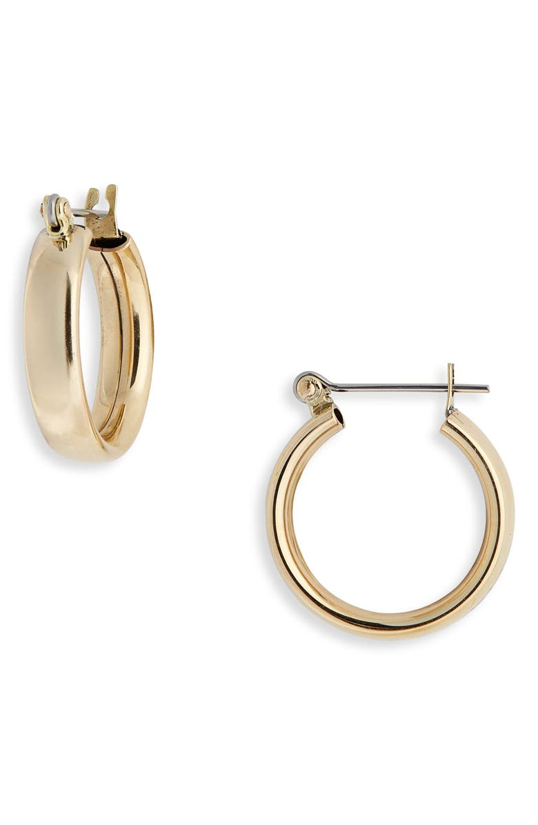 LAURA LOMBARDI Mini Band Hoop Earrings, Main, color, BRASS