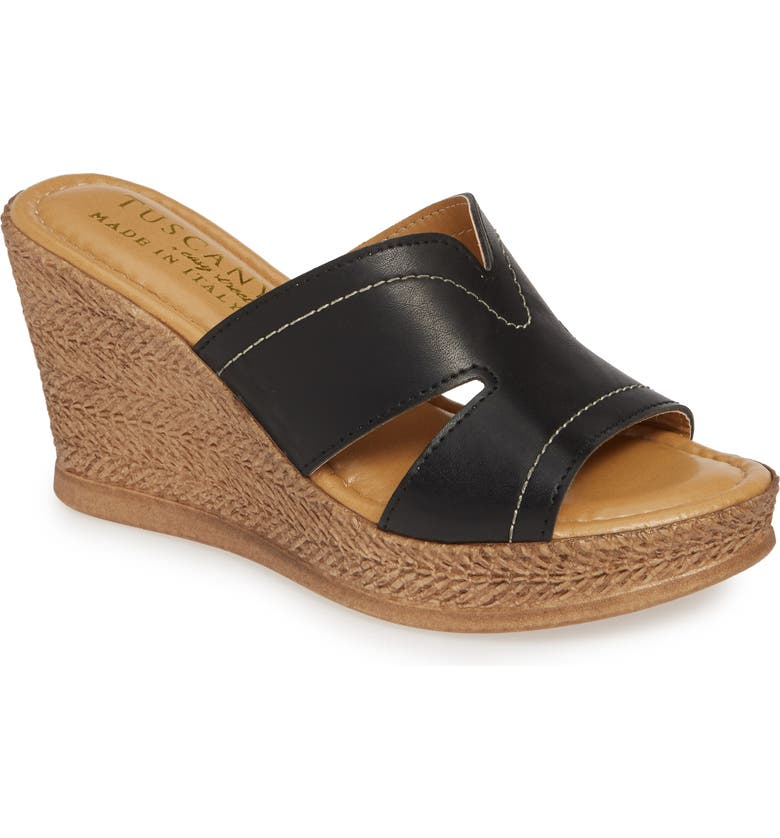 TUSCANY BY EASY STREET<SUP>®</SUP> Marsala Sandal, Main, color, BLACK LEATHER