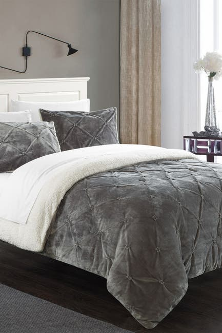 Image of Chic Home Bedding King Aurelia Pinch Pleate Faux Shearling Lined Comforter Set - Grey