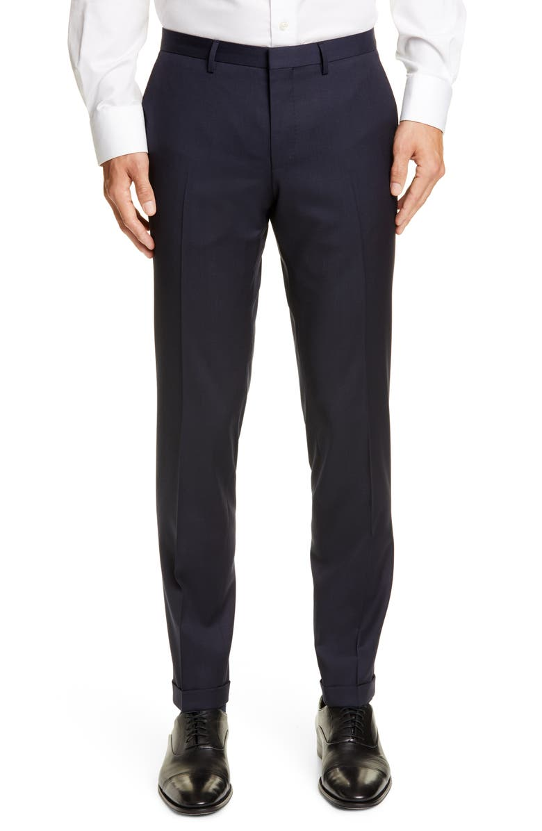 BOSS Wave Flat Front Solid Wool Trousers, Main, color, DARK BLUE