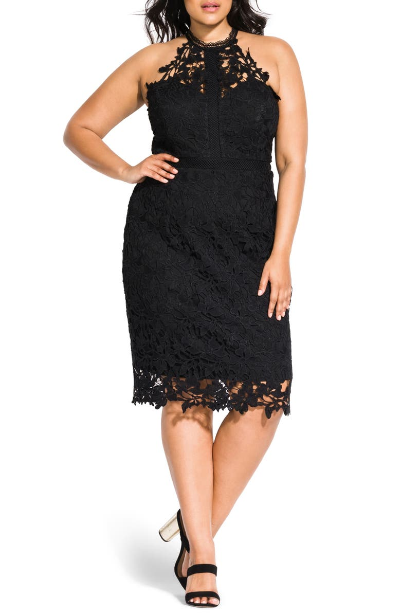 CITY CHIC Victorian Lace Cocktail Dress, Main, color, BLACK