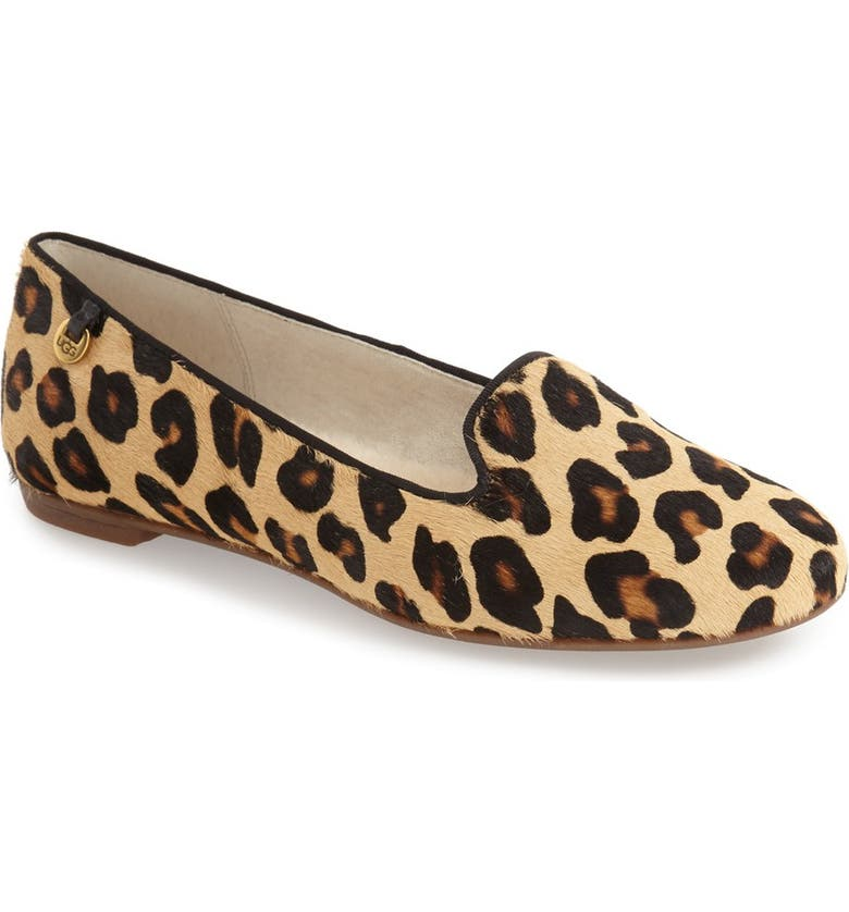 UGG<SUP>®</SUP> 'Blyss' Leopard Spot Calf Hair Flat, Main, color, 200