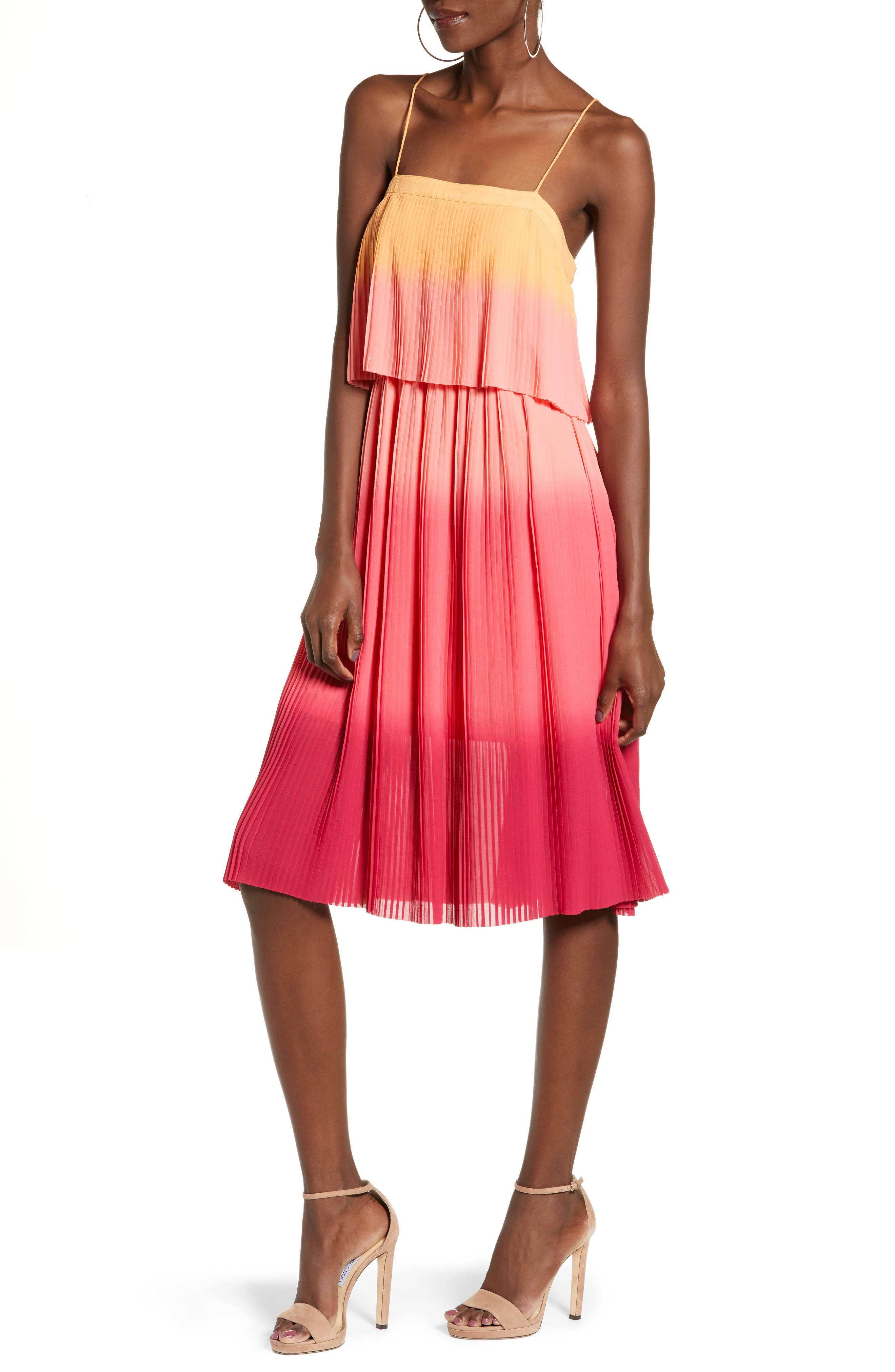 Leith Pleated Midi Dress, Coral