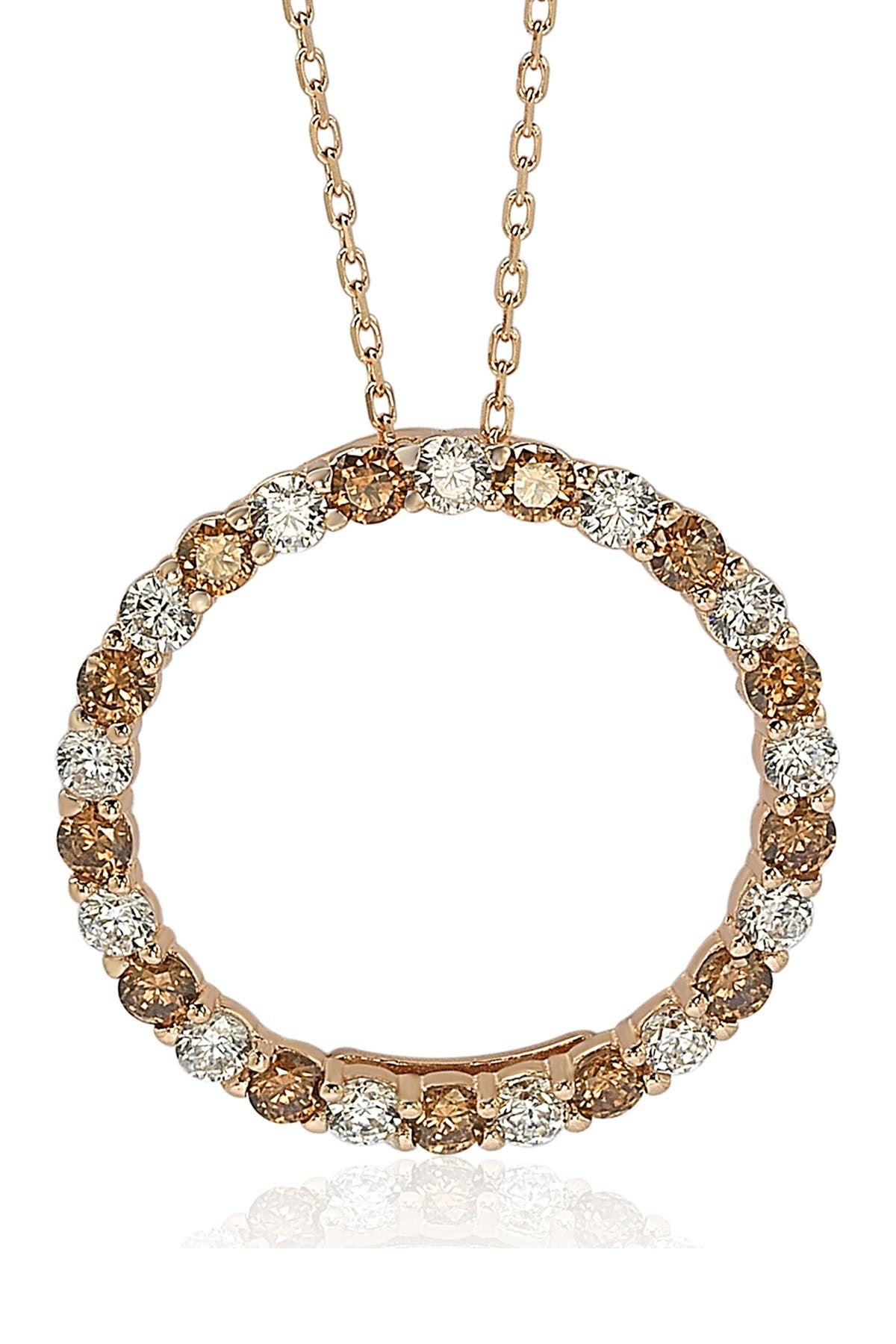 Image of Suzy Levian Rose-Tone Sterling Silver Prong Set Round Cut CZ Open Circle Pendant Necklace