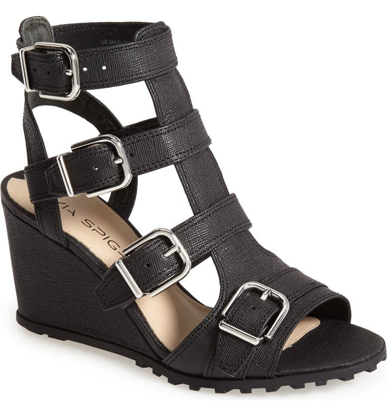 VIA SPIGA 'Luxie' Wedge Sandal, Main, color, 001