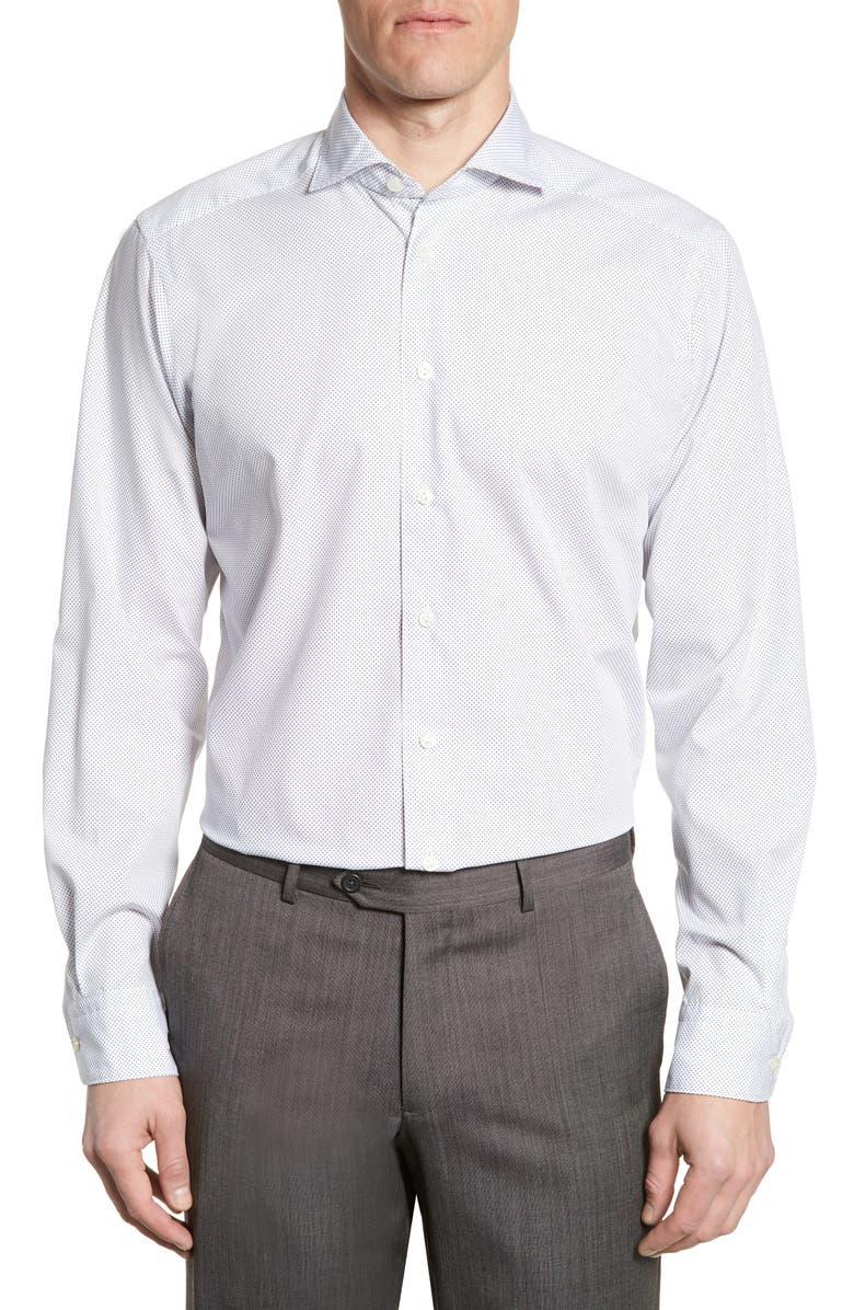 ETON Soft Collection Contemporary Fit Dot Shirt, Main, color, 100
