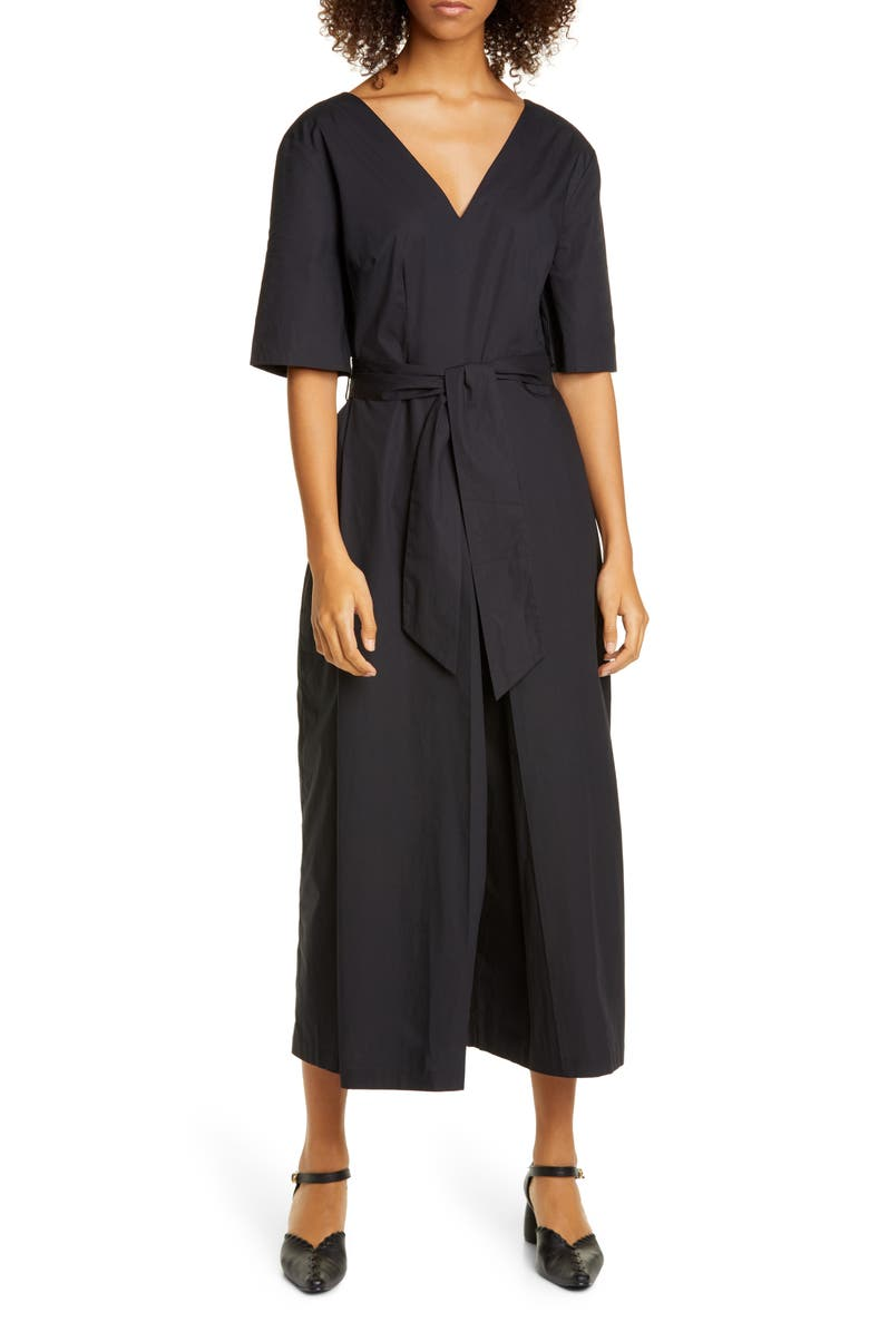 MERLETTE Serra Crop Wide Leg Cotton Poplin Jumpsuit, Main, color, BLACK