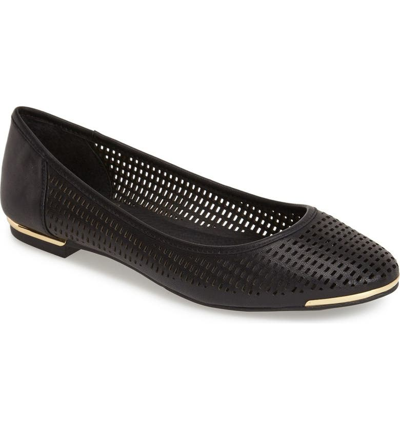 VINCE CAMUTO 'Caya' Perforated Leather Ballet Flat, Main, color, 001