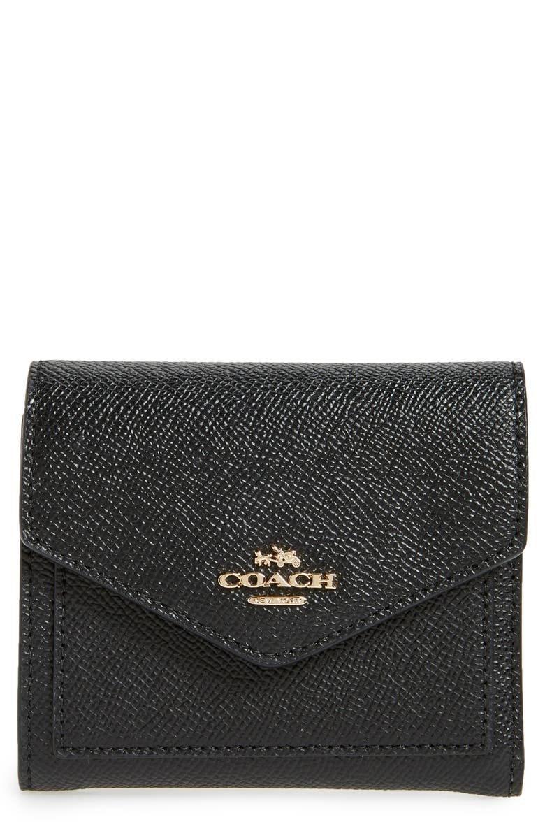 COACH Small Calfskin Leather Trifold Wallet, Main, color, 001