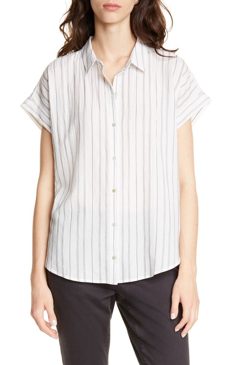EILEEN FISHER Stripe Boxy Organic Cotton Blend Shirt, Main, color, WHITE BLACK