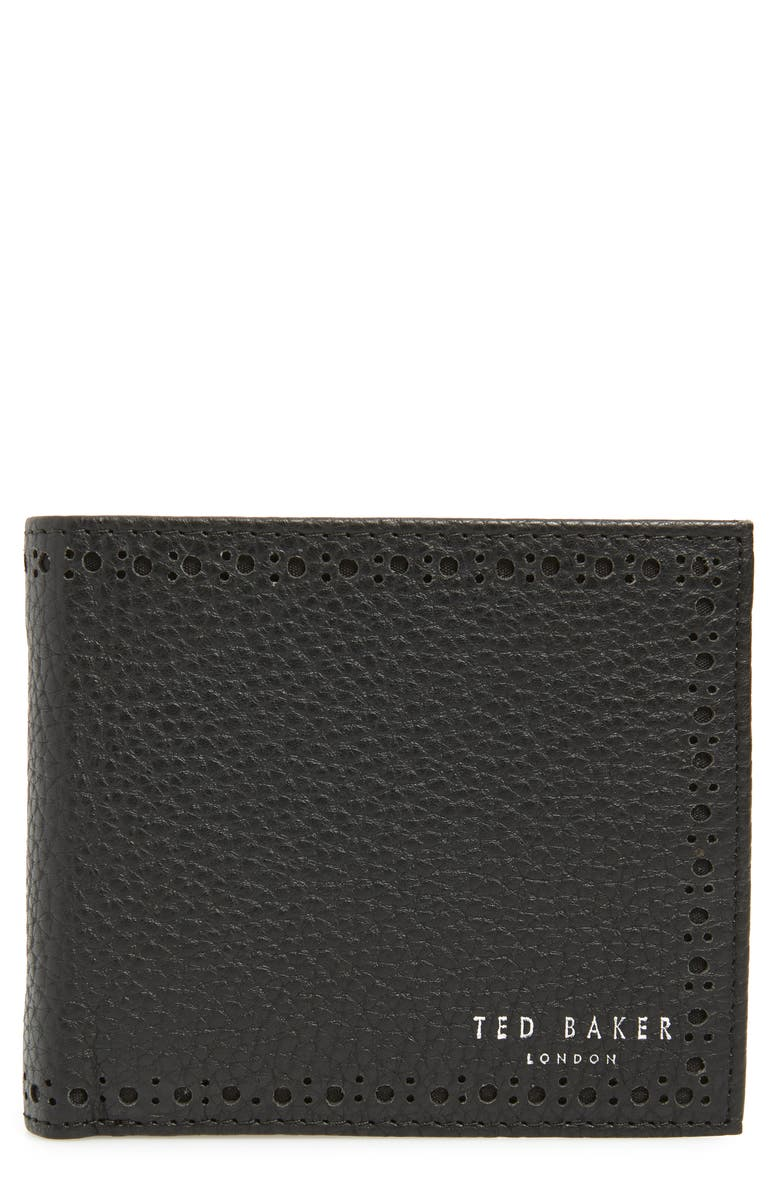 TED BAKER LONDON Leather Wallet, Main, color, BLACK