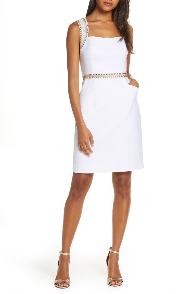 LILLY PULITZER<SUP>®</SUP> Lilly Pulitzer Dana Embellished Stretch Piqué Sheath Dress, Main, color, RESORT WHITE
