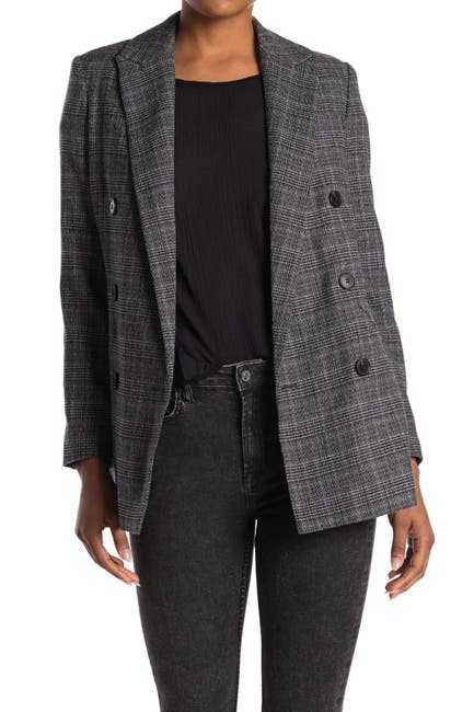 Image of ALLSAINTS Astrid Fay Plaid Double-Breasted Blazer