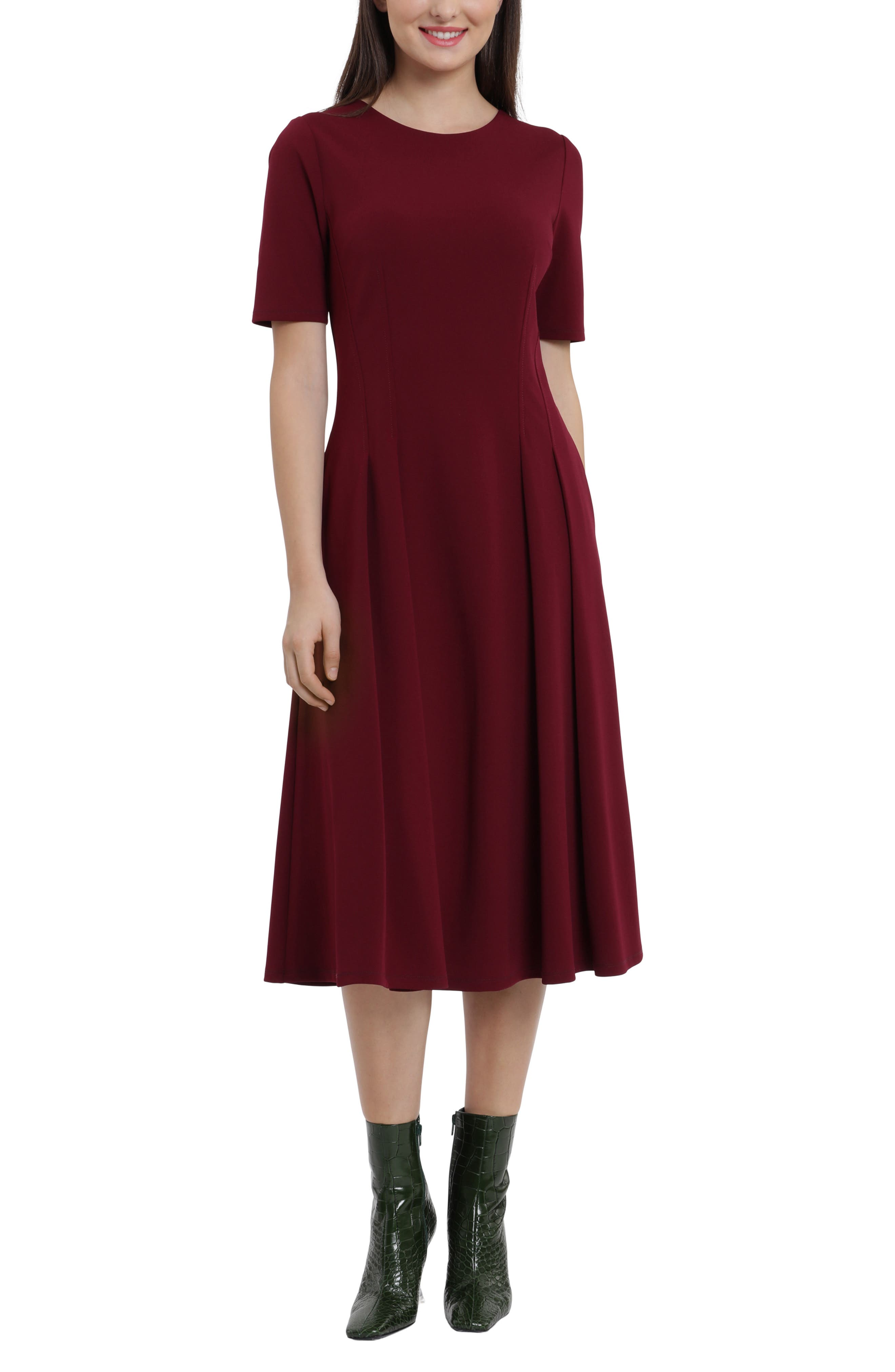Double Pleat A-Line Midi Dress