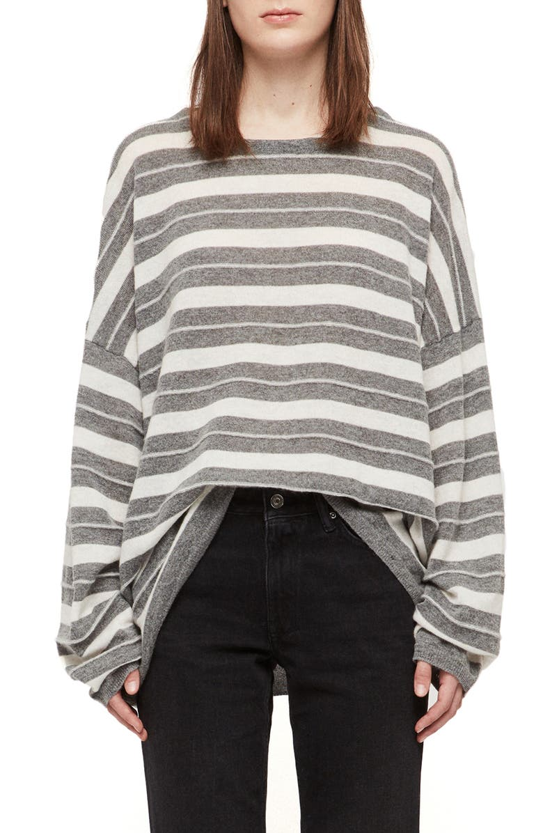 ALLSAINTS Cassia Stripe Boat Neck Sweater, Main, color, GREY MARL/CHALK
