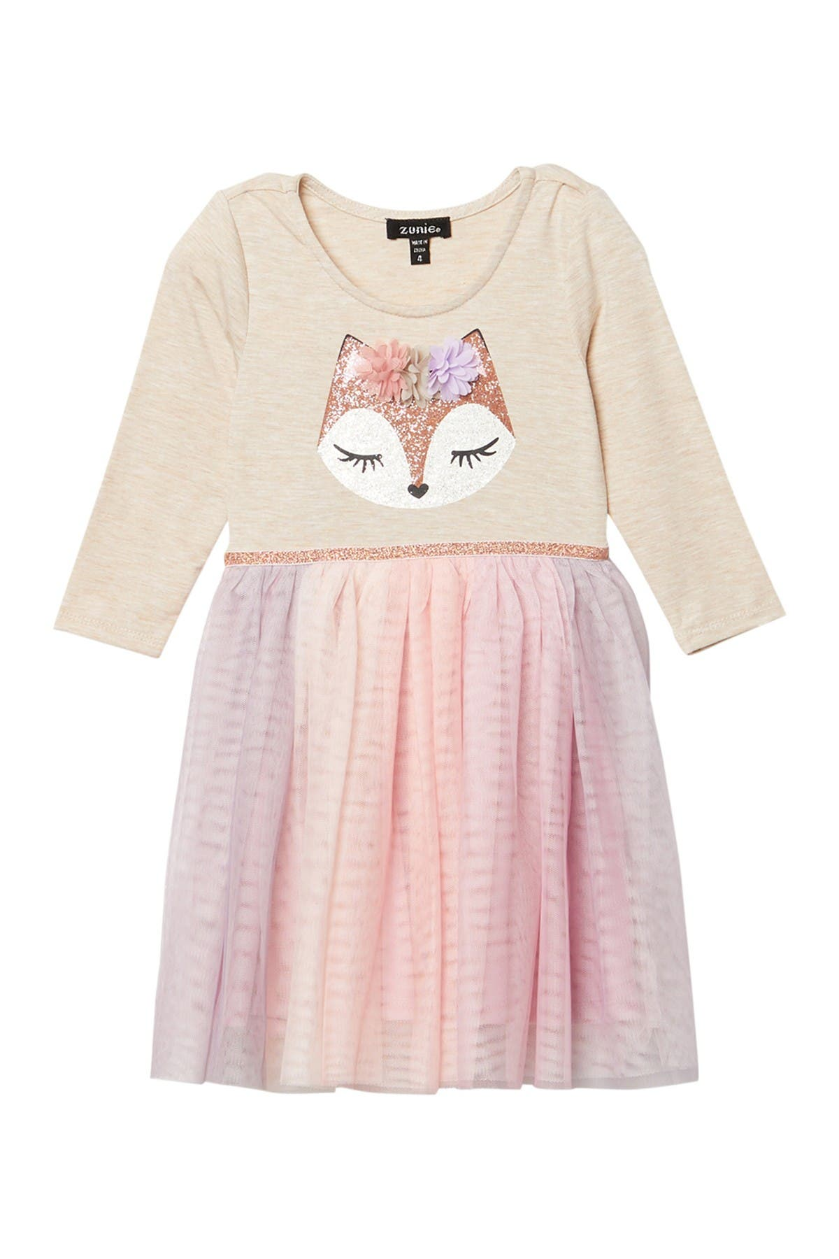 Image of Zunie 3/4 Sleeve Mesh Skirt Fox Dress