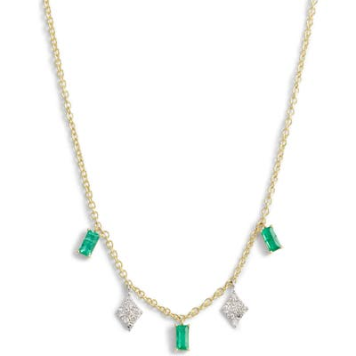Meira T Emerald & Diamond Charm Necklace