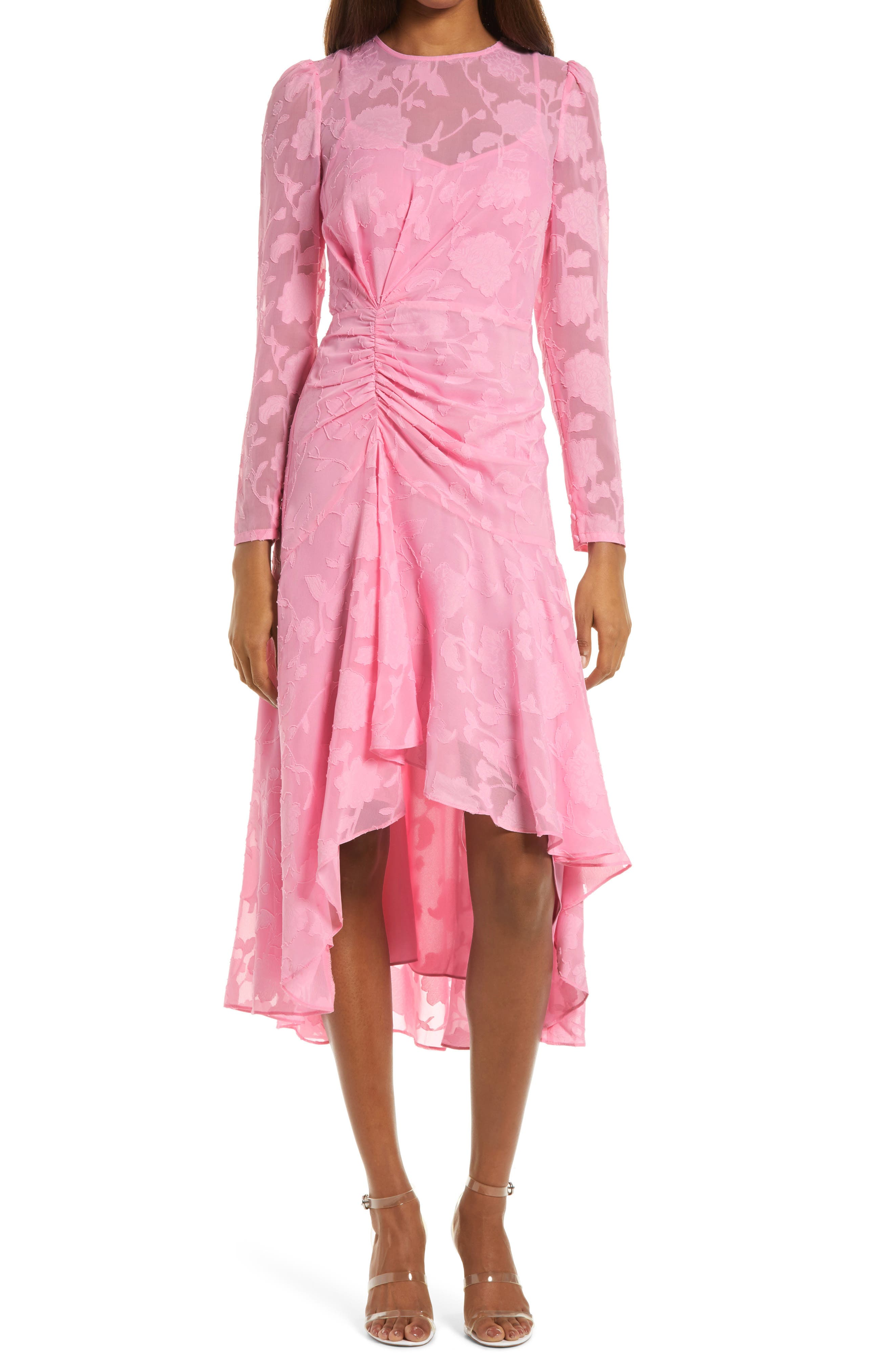 Floral Jacquard Long Sleeve High/Low Dress