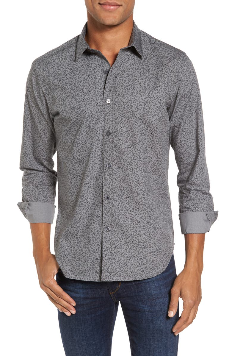 JEFF Slim Fit Print Shirt, Main, color, GREY