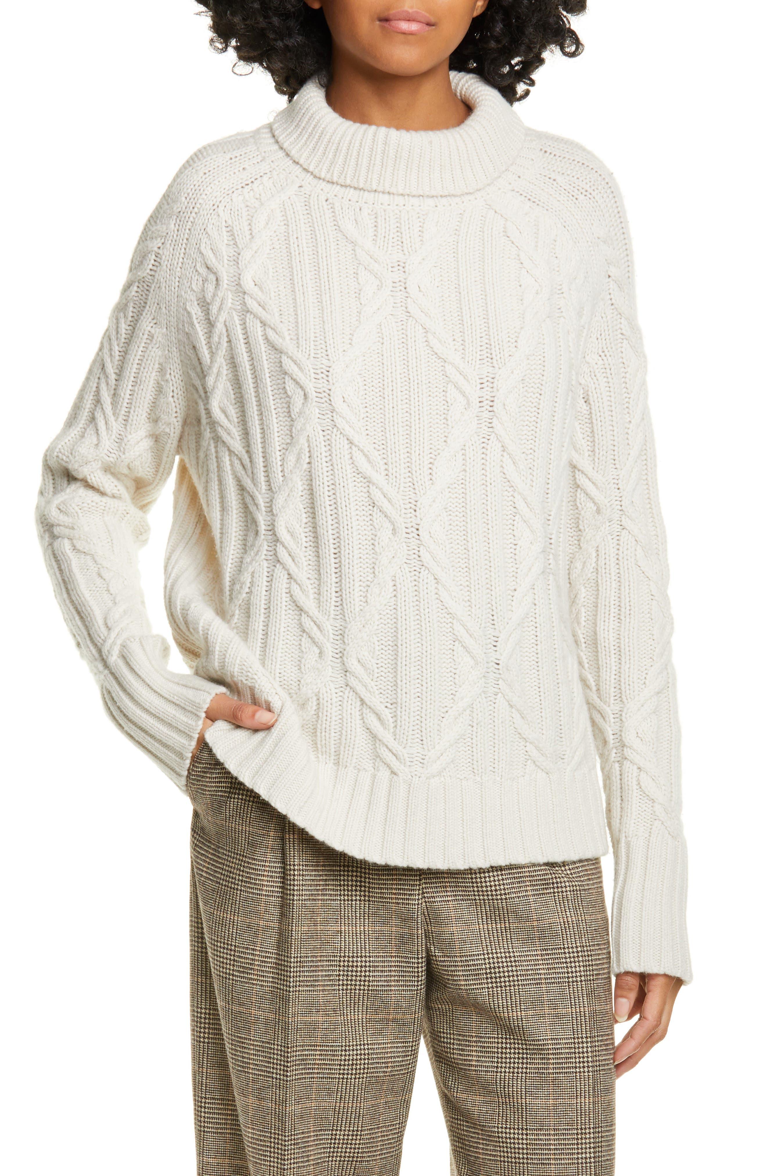 Nili Lotan Knitwear Meyra Mock Neck Cable Knit Cashmere Sweater